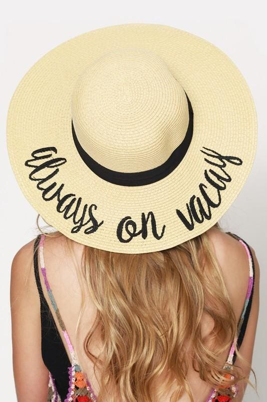 CC Embroidered Wide Brim Vacation Floppy Sun Hat - Accessories - Affordable  Boutique Fashion 26ecd352162