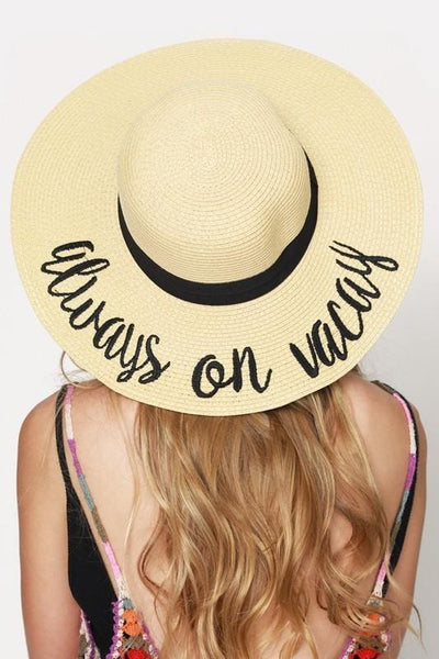 15e61381 CC Embroidered Wide Brim Vacation Floppy Sun Hat – LUCKY & CO