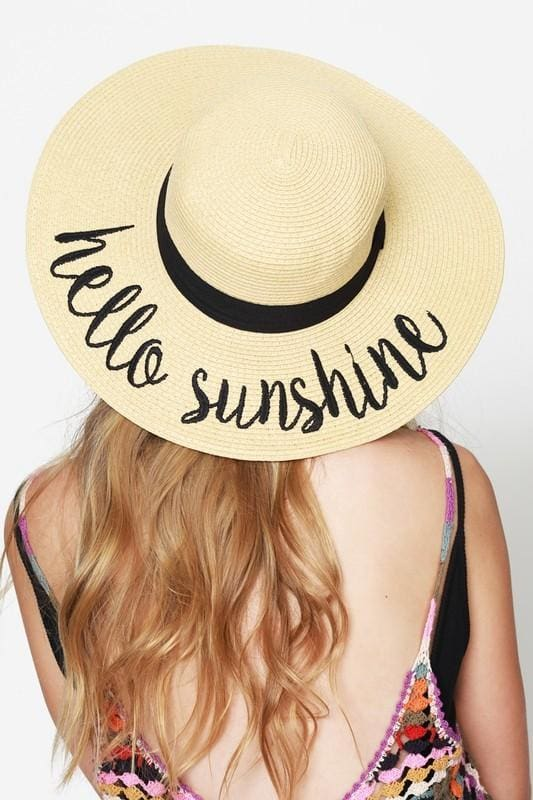 CC Embroidered Wide Brim Vacation Floppy Sun Hat - Accessories - Affordable Boutique Fashion
