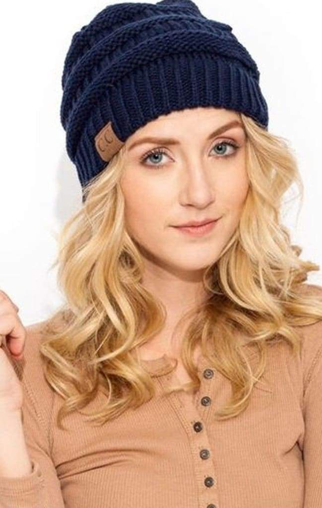CC Luxe Knit Beanie - Navy - FINAL SALE - Affordable Boutique Fashion