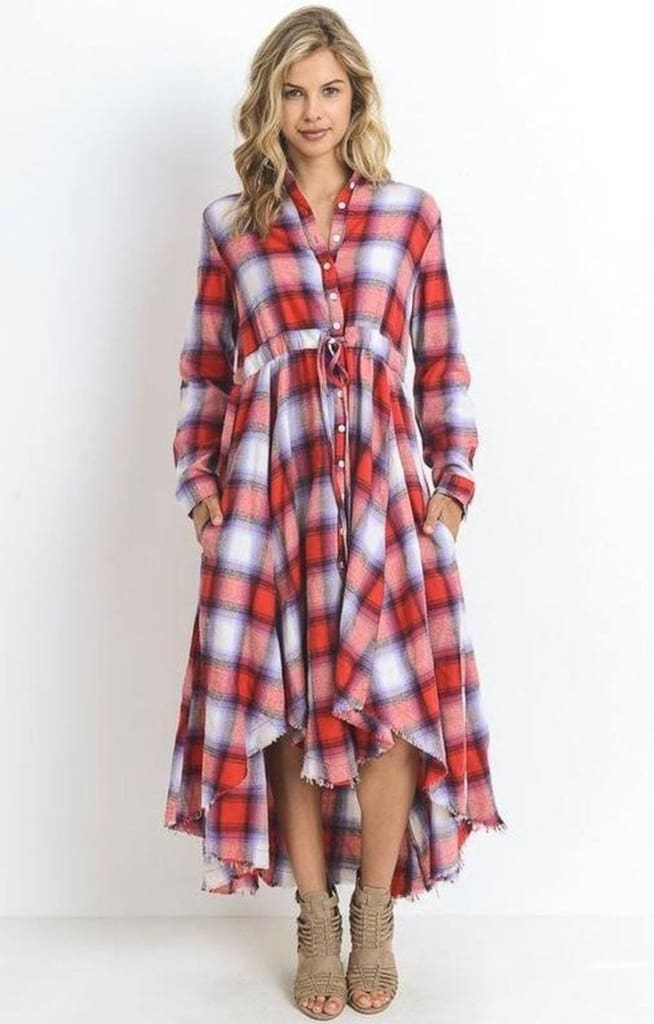 Charlotte Plaid Maxi Dress - DRESSES - Affordable Boutique Fashion