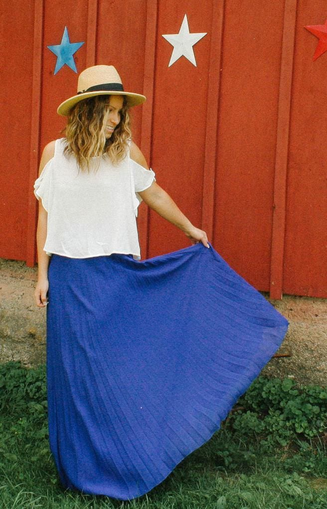 Cinderella Royal Blue Pleated Maxi Skirt - Bottoms - Affordable Boutique Fashion