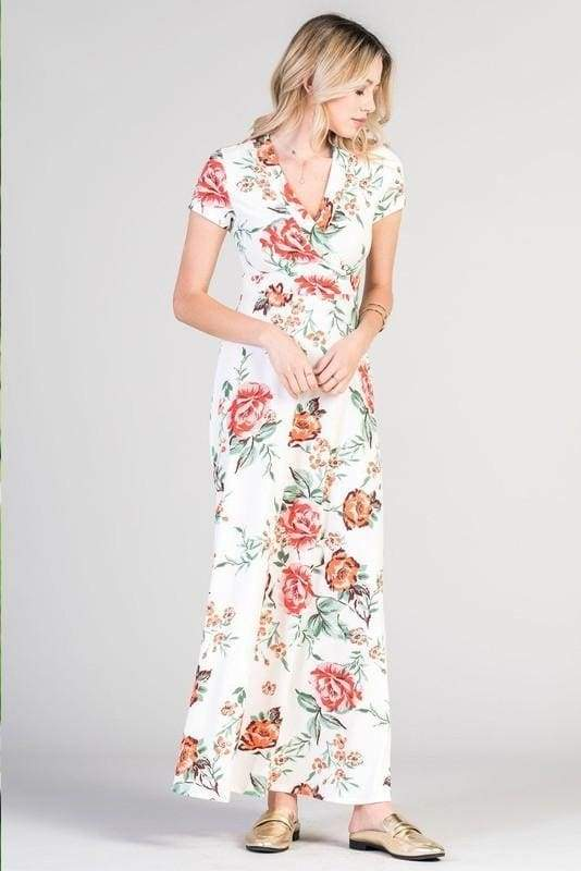 """Claire"" Floral Faux Wrap Maxi Dress ! - DRESSES - Affordable Boutique Fashion"