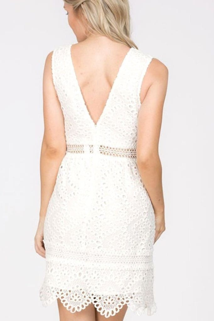 Cleo Fit and Flare White Lace Dress - Dresses - Affordable Boutique Fashion