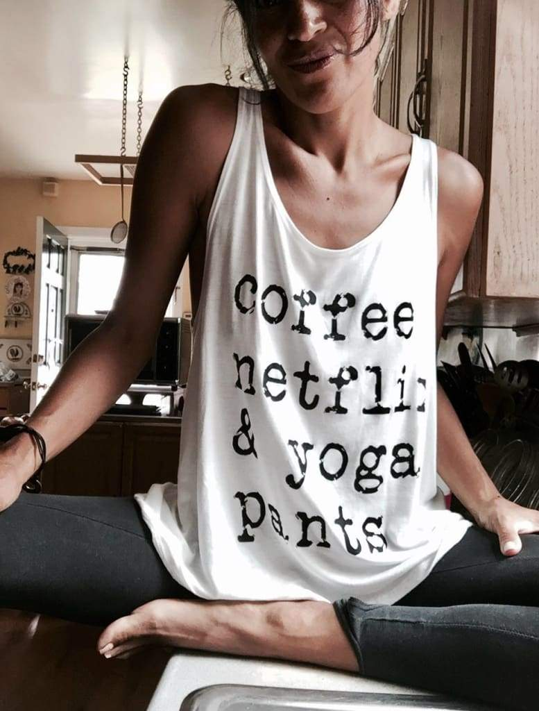 Coffee Netflix Yoga Pants Tank Top (White) - Graphics - Affordable Boutique Fashion