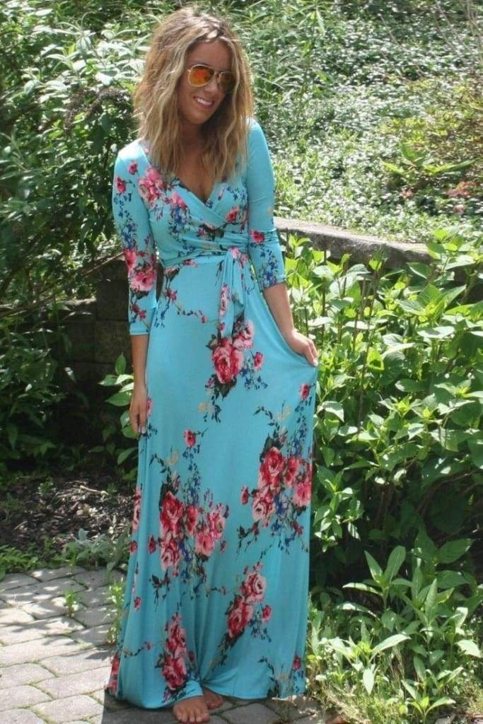 """Creme De La Creme"" Floral Mint Wrap Maxi Dress - DRESSES - Affordable Boutique Fashion"