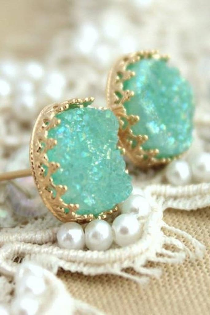Crown Jewels Druzy Stone Studs - Mint -  - Affordable Boutique Fashion