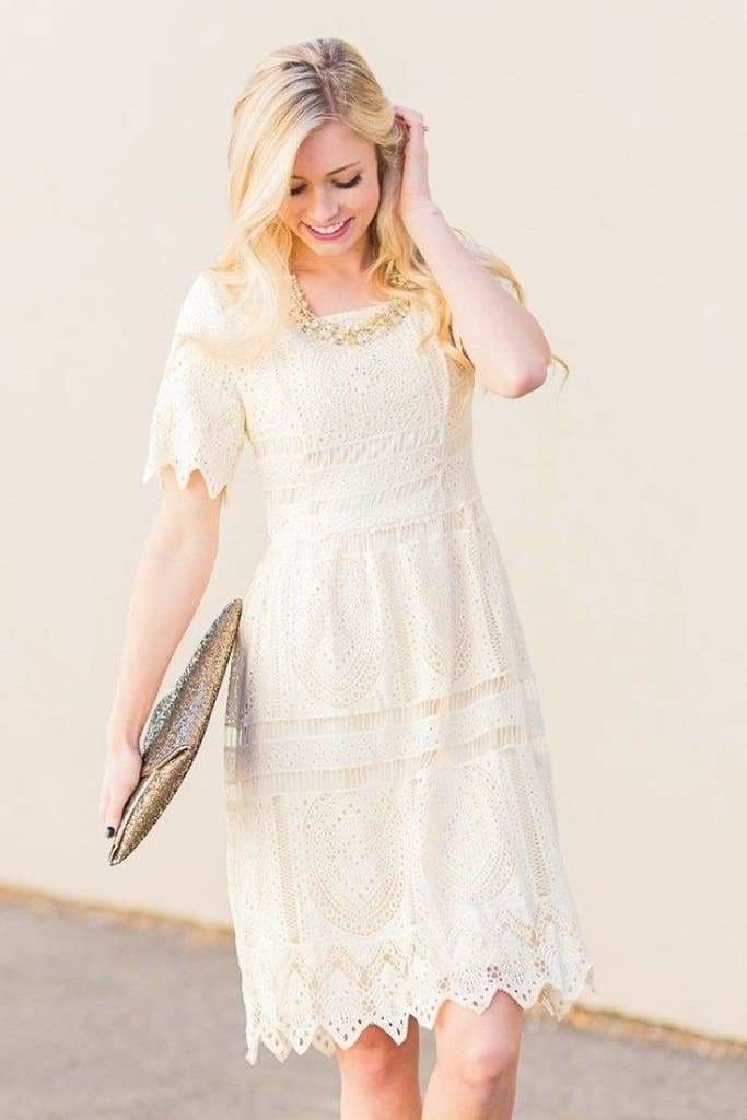 Decker Crochet Dress | Ivory - DRESSES - Affordable Boutique Fashion