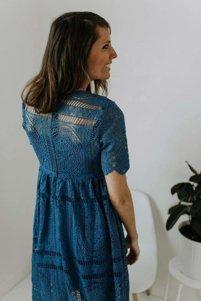 Decker Crochet Dress | Slate - DRESSES - Affordable Boutique Fashion