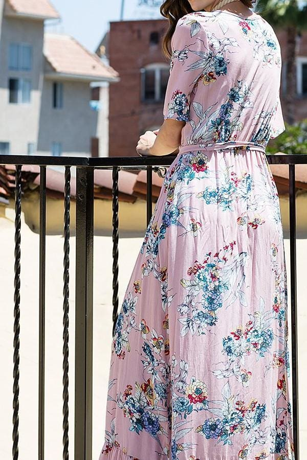 Destiny Blush Floral Wrap Maxi Dress - Dresses - Affordable Boutique Fashion