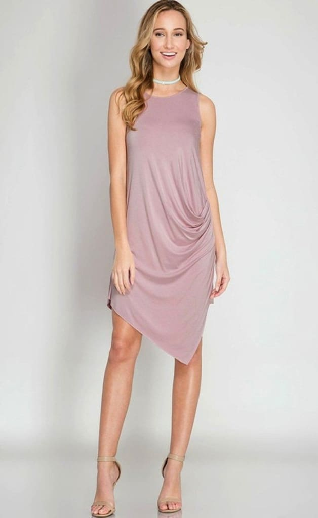 Dolly Blush Draped Dress - Dresses - Affordable Boutique Fashion