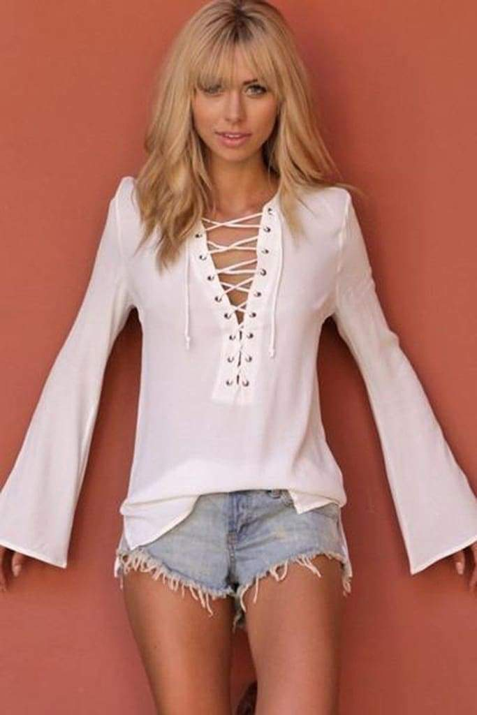 Dreamer Lace Up Blouse (+ Colors) - ! - SALE - Affordable Boutique Fashion