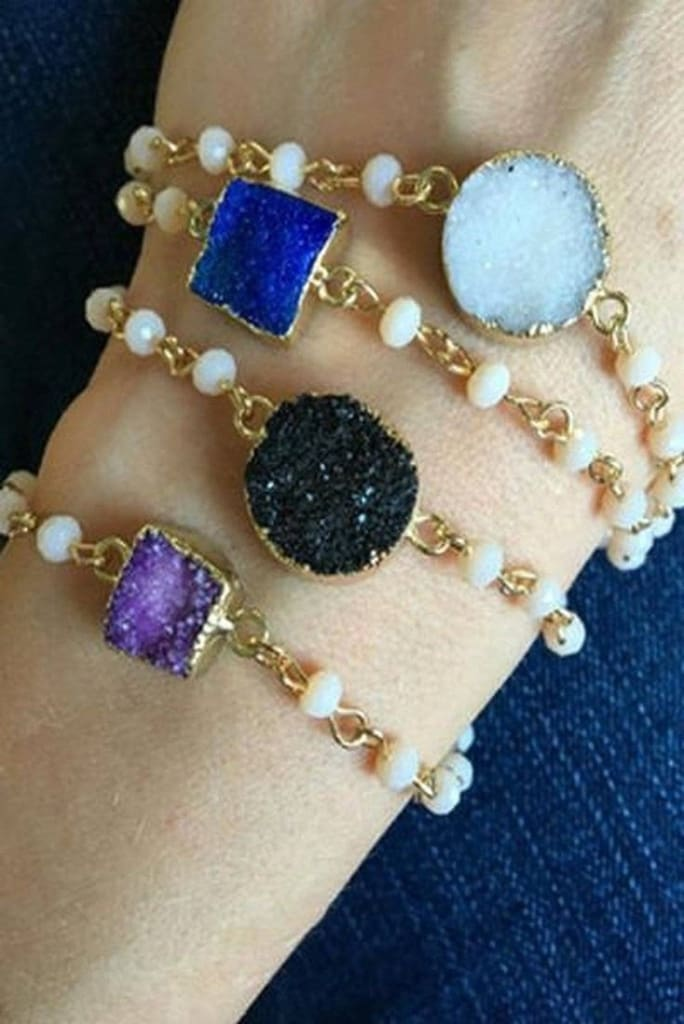 Druzy and Pearls Dainty Bracelet -  - Affordable Boutique Fashion