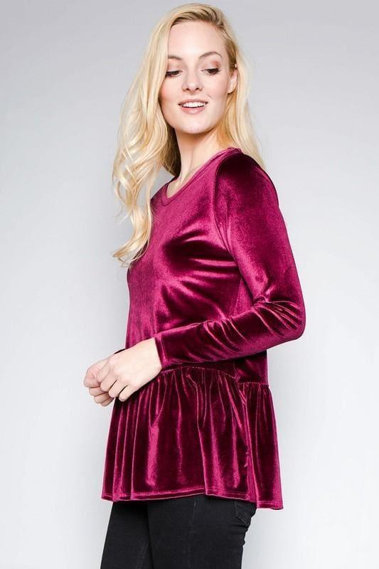 Elevated Velvet Peplum Blouse | Burgundy - Tops - Affordable Boutique Fashion