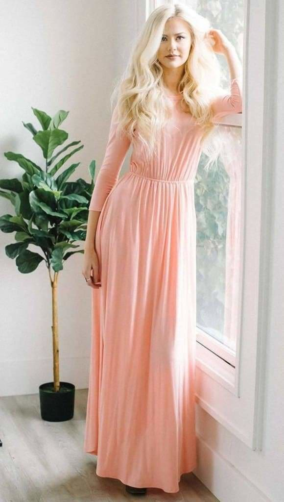 Ella Long Sleeve Maternity Maxi Dress -Blush - DRESSES - Affordable Boutique Fashion
