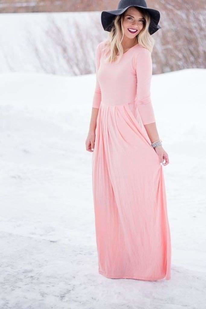 Ella Long Sleeve Pocket Maxi Dress // Bump Friendly - DRESSES - Affordable Boutique Fashion