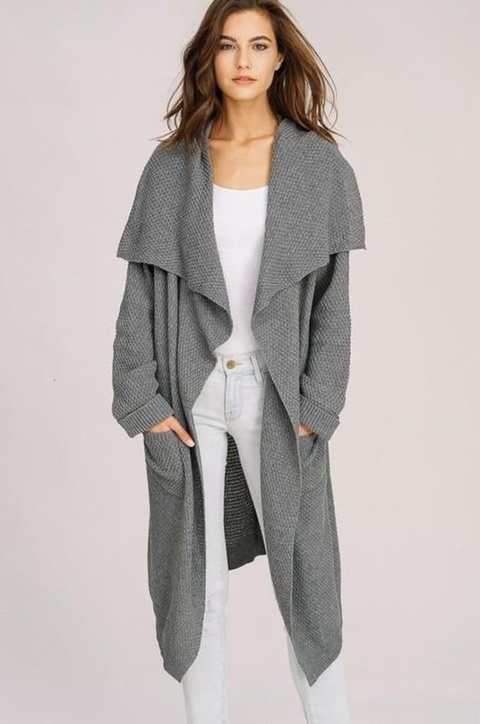 Ember Knit Cardigan - Charcoal - sweater - Affordable Boutique Fashion