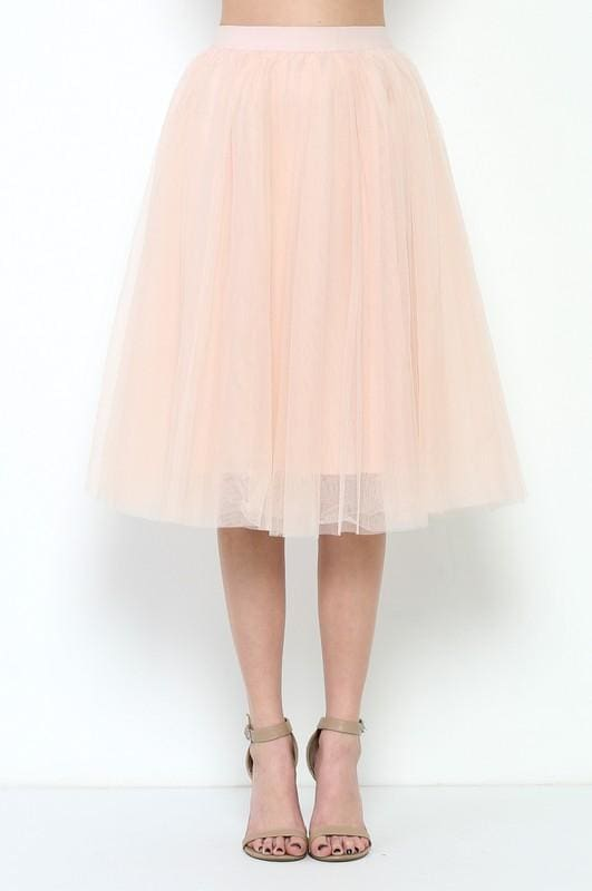 Emma Tulle Midi Skirt - Blush - skirts - Affordable Boutique Fashion