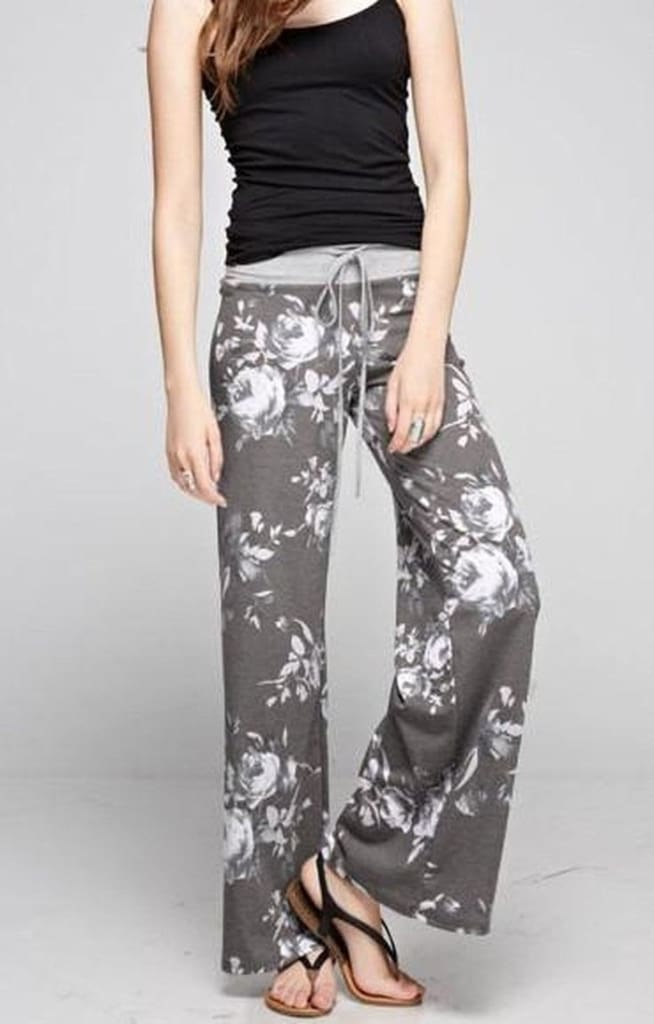 Floral Fancy Lounge Pants - Grey - Bottoms - Affordable Boutique Fashion