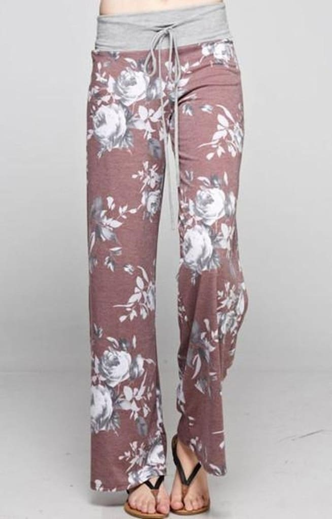 Floral Fancy Lounge Pants - Vintage Burgundy - Bottoms - Affordable Boutique Fashion