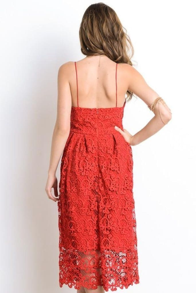 Forever Yours Red Lace Midi Dress - DRESSES - Affordable Boutique Fashion