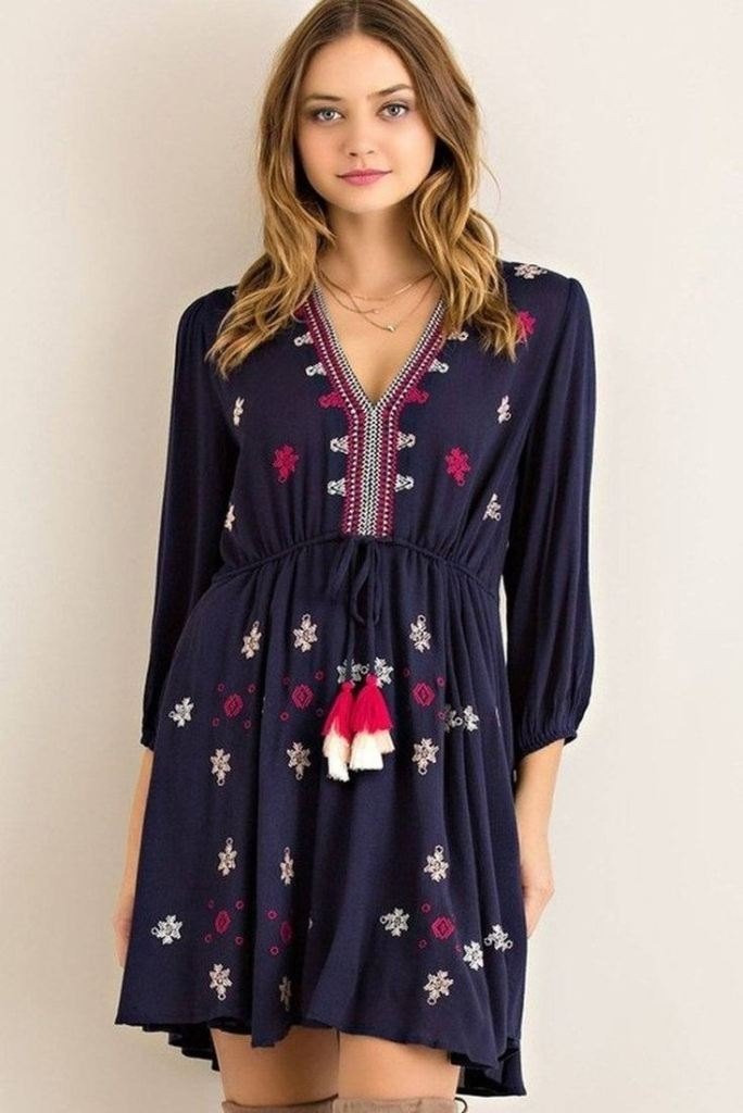 Francisco Embroidered Shift Dress - DRESSES - Affordable Boutique Fashion