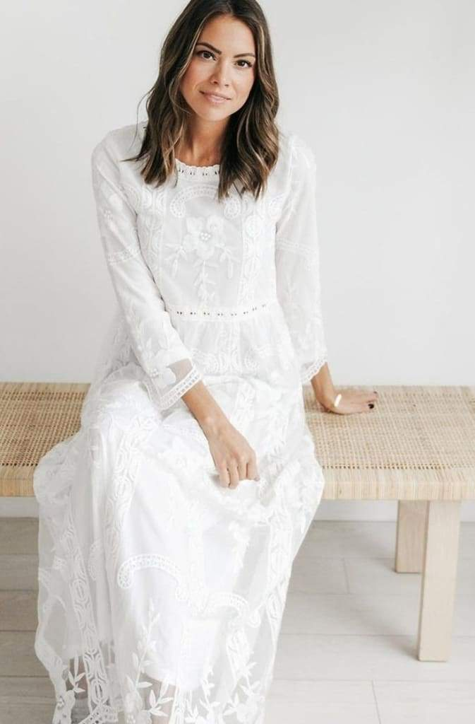 Gallery White Lace Maxi Dress - Dresses - Affordable Boutique Fashion