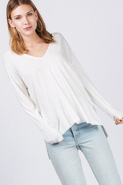Gaston Long Sleeve Perfect Vee - Tops - Affordable Boutique Fashion
