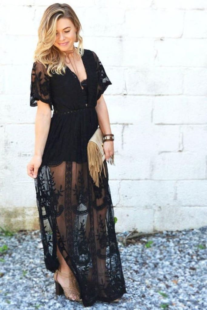 Gemma Lace Maxi Dress | Black - Dresses - Affordable Boutique Fashion