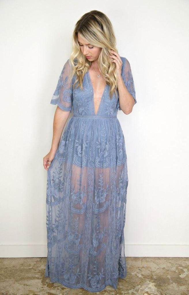 Gemma Lace Maxi Dress | Dusty Blue - Dresses - Affordable Boutique Fashion