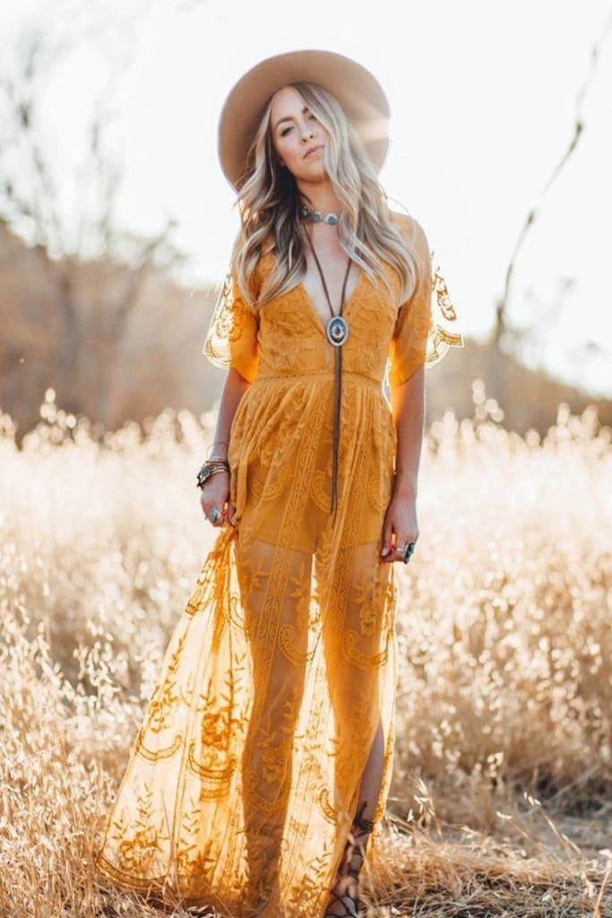 Gemma Lace Maxi Dress | Mustard - Dresses - Affordable Boutique Fashion