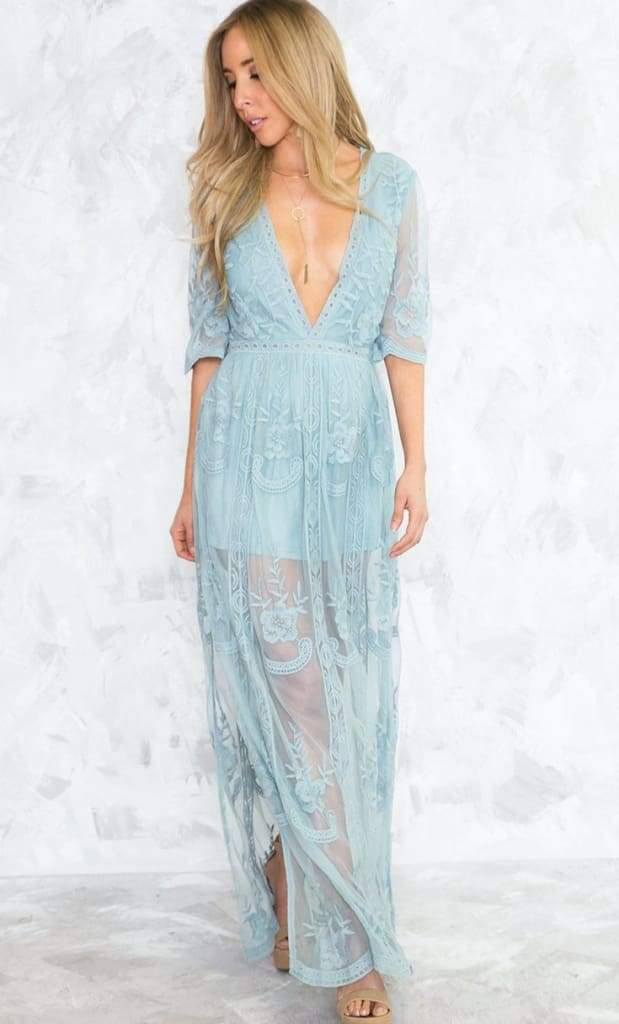 4b6e212ea1d9 Gemma Misty Blue Lace Maxi Dress - Dresses - Affordable Boutique Fashion