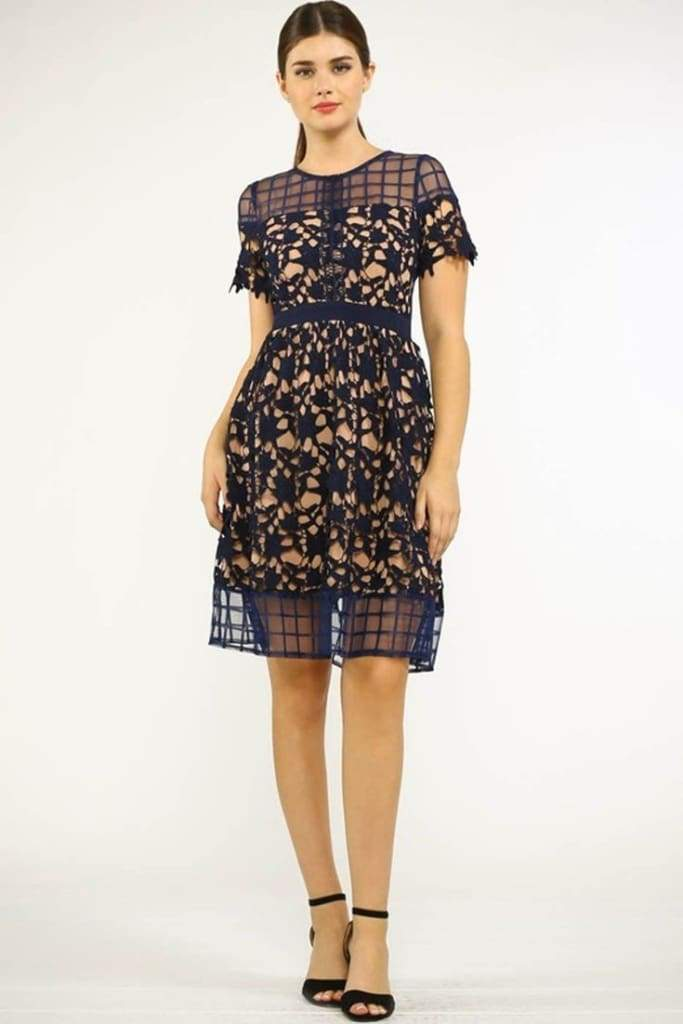 Geo Fit and Flare Crochet Lace Dress - Dresses - Affordable Boutique Fashion