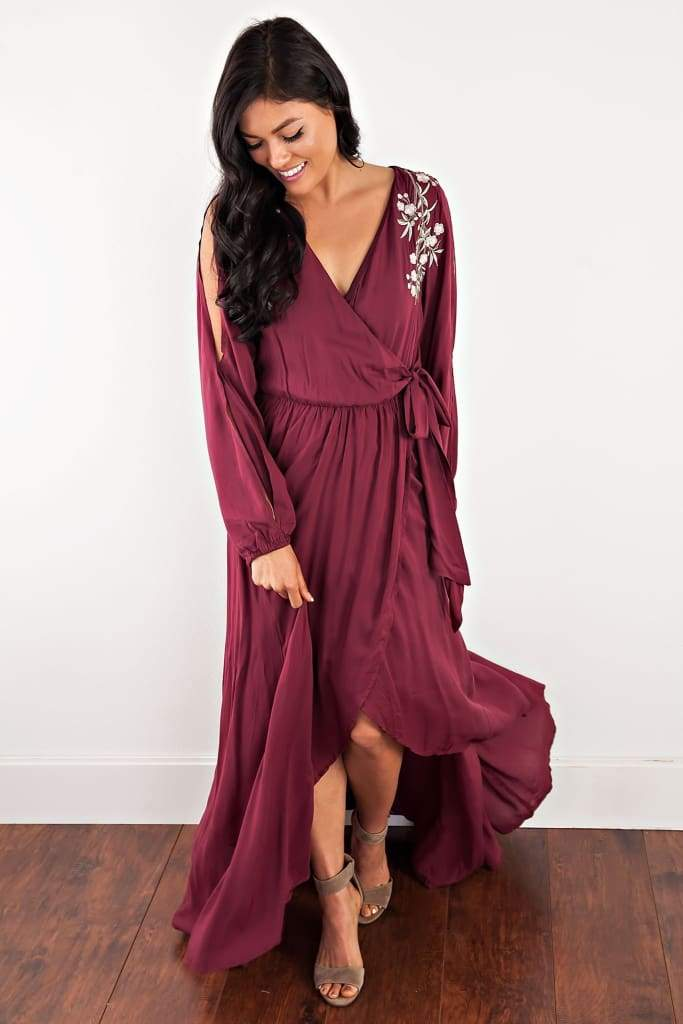 Georgie Burgundy Embroidered Wrap Dress - Dresses