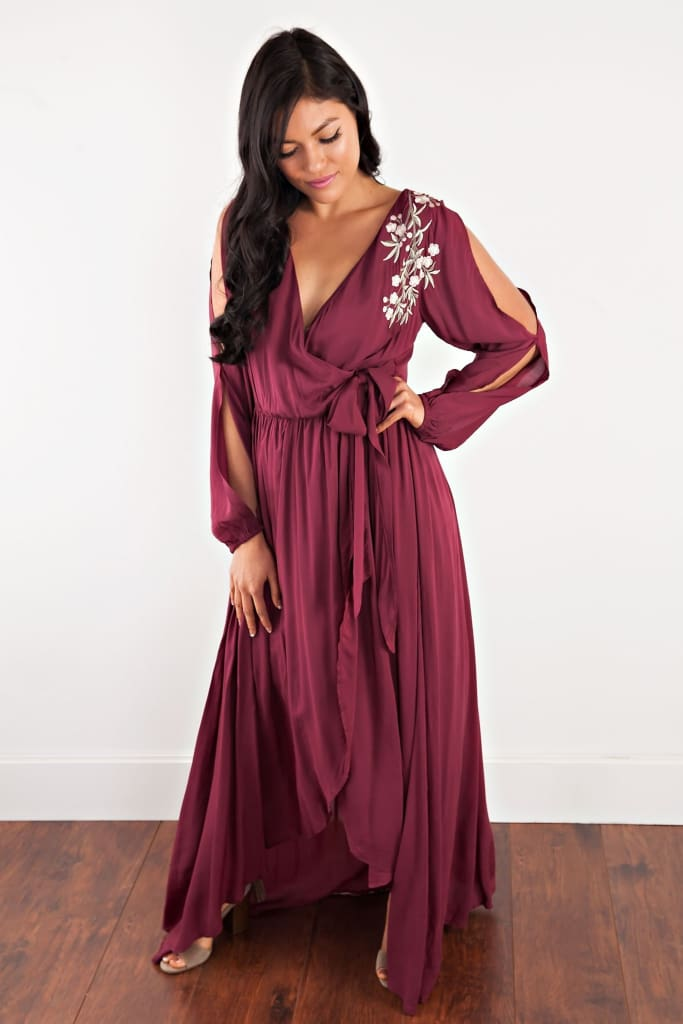 Georgie Burgundy Embroidered Wrap Dress - Dresses - Affordable Boutique Fashion