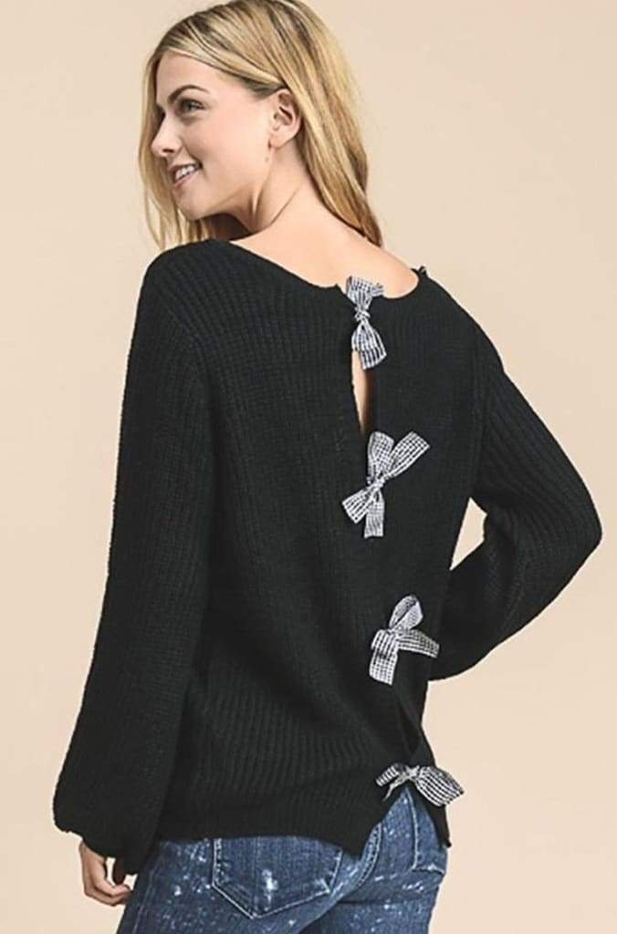 Gingham & Bows Black Sweater - - Tops - Affordable Boutique Fashion