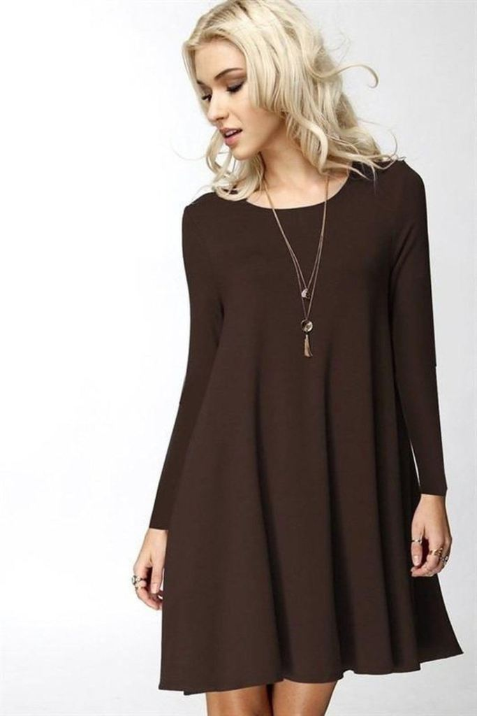 Girl Boss Swing Dress - Brown - DRESSES - Affordable Boutique Fashion