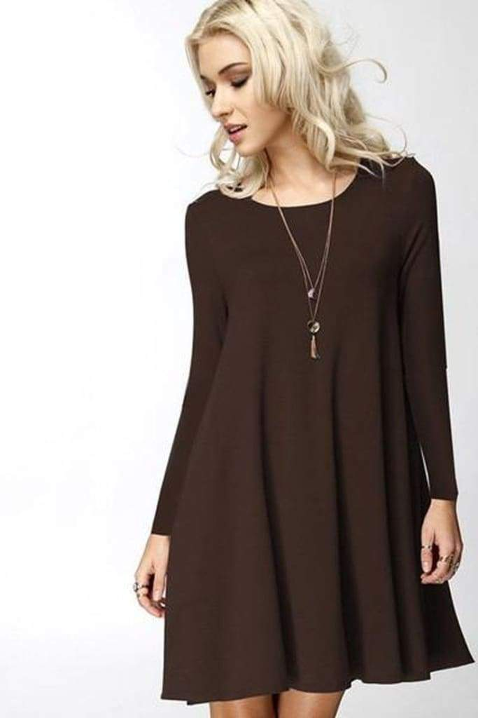 Girl Boss Swing Dress - Burgundy - Dresses - Affordable Boutique Fashion