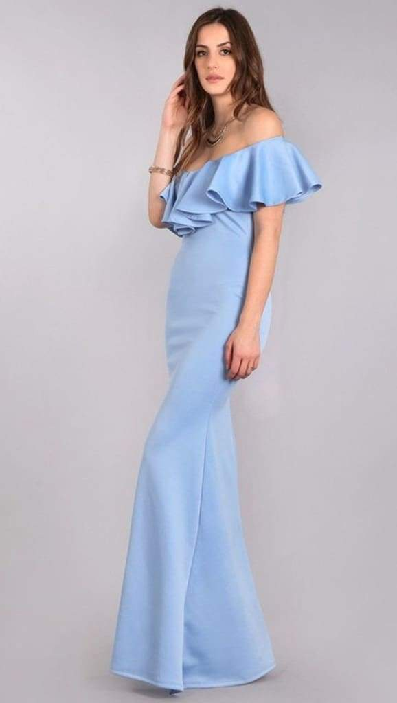 Glitz & Glamour Mermaid Maxi Dress - Dusty Blue - DRESSES - Affordable Boutique Fashion