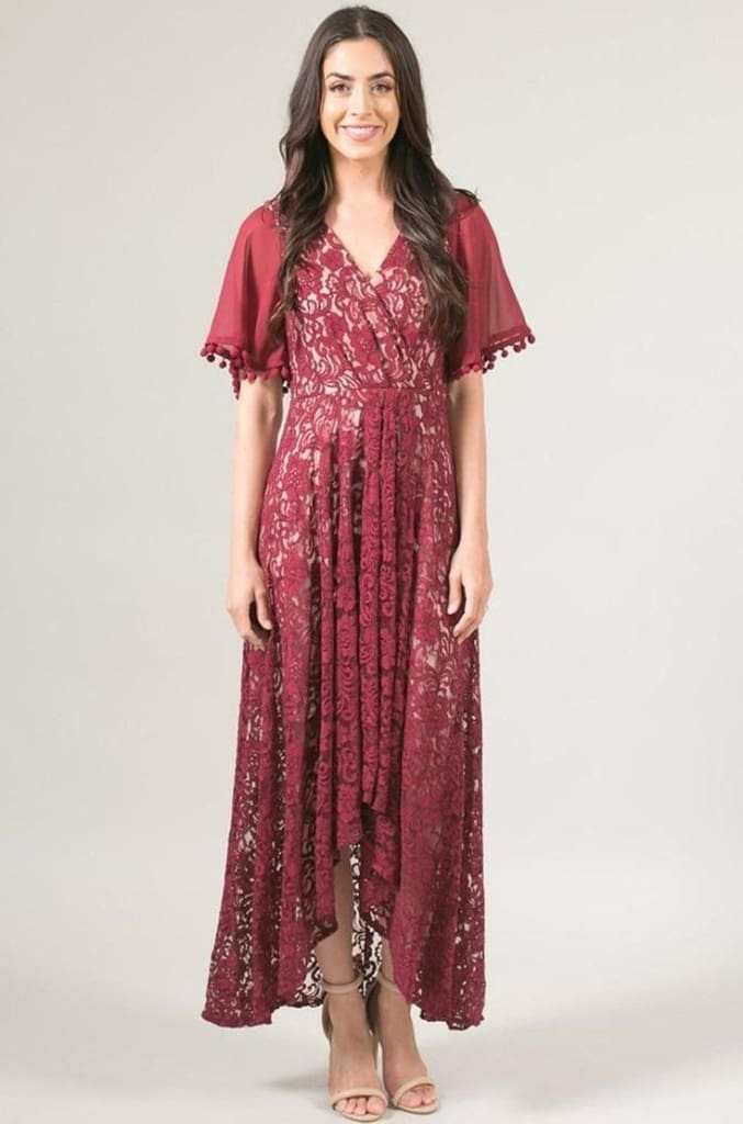 Grand Entrance Burgundy Lace Dress - DRESSES - Affordable Boutique Fashion