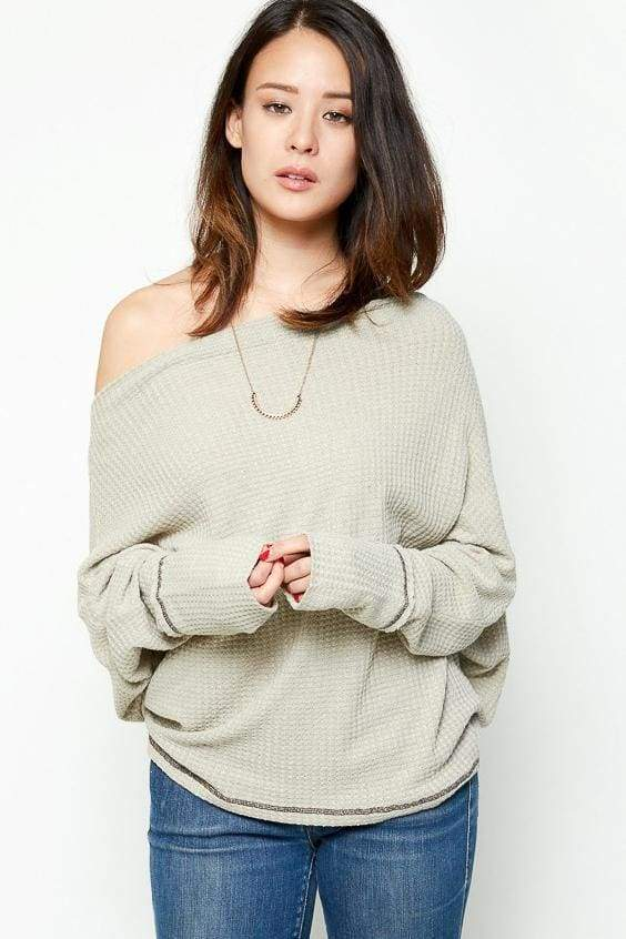 Harmony Off Shoulder Relaxed Knit - Dusty Sage - Tops - Affordable Boutique Fashion