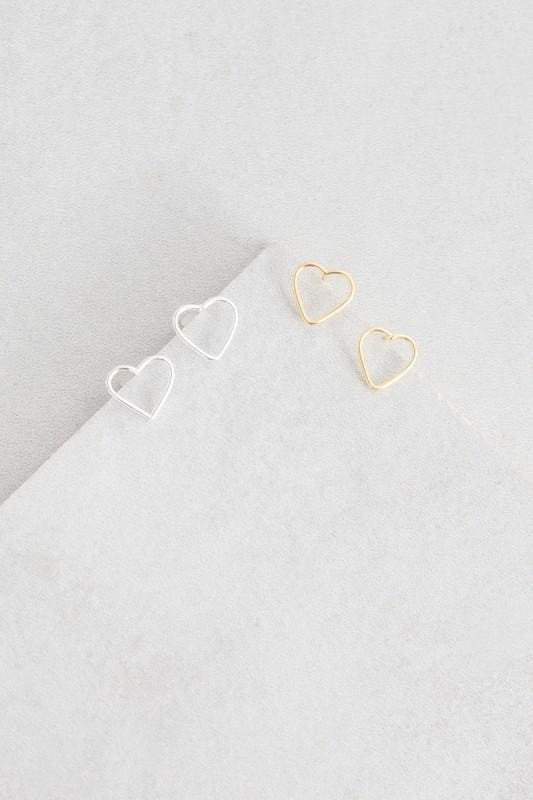 Hearts Content 14K Gold Studs -  - Affordable Boutique Fashion