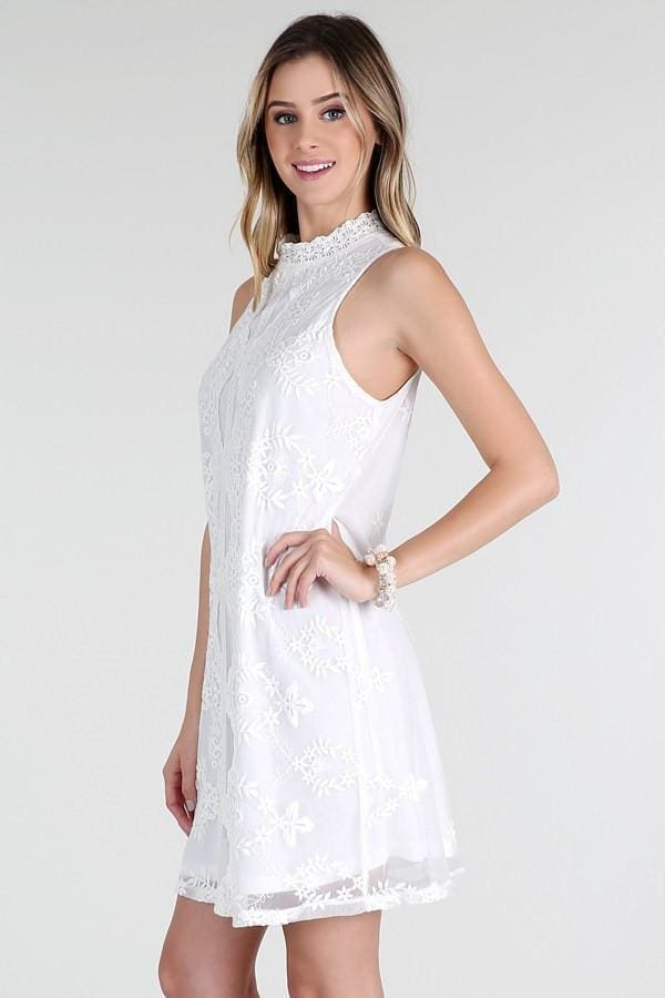 db0d83a5556 Hilton White Lace Shift Dres - DRESSES - Affordable Boutique Fashion