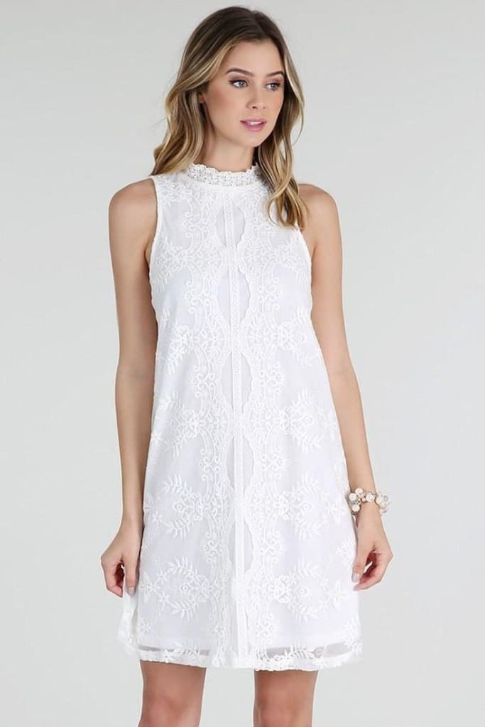 Hilton White Lace Shift Dres - DRESSES - Affordable Boutique Fashion