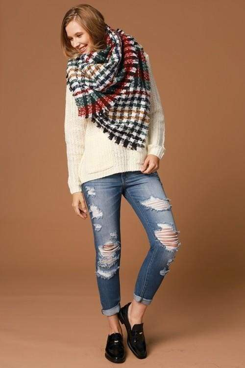 Houndstooth in the Valley Blanket Scarf - Accessories - Affordable Boutique Fashion