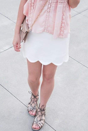Hudson Scalloped Skirt - white - Bottoms - Affordable Boutique Fashion