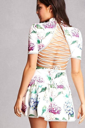 Hydrangea Tie-Back Floral Dress - Dresses - Affordable Boutique Fashion
