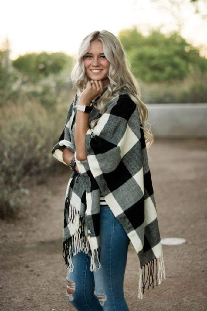 In Check Buffalo Plaid Poncho ! - SWEATER - Affordable Boutique Fashion