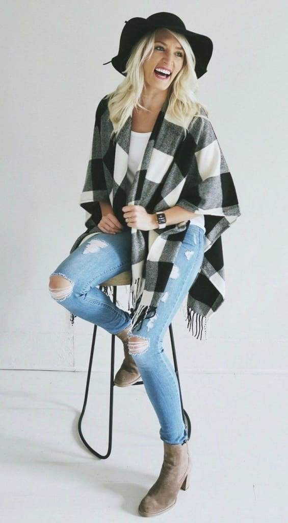 In Check Buffalo Plaid Poncho - SWEATER - Affordable Boutique Fashion