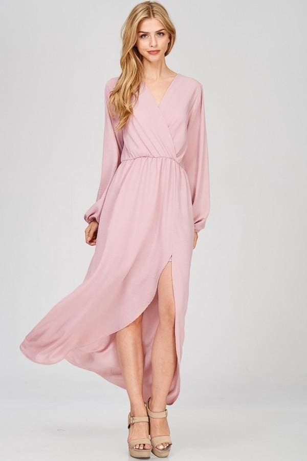 In Paris Long Sleeve Drape Maxi - DRESSES - Affordable Boutique Fashion